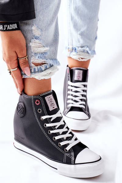 Skórzane Trampki Na Koturnie Cross Jeans II2R4025 Czarne